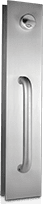 Aluminum-Sliding Door Hardware-Wire Pull Handle with Projected Thumbturn and Exterior Keyed Cylinder-Clear Anodize Finish