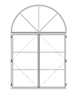 Steel Window 1_2 Round Transom Over French Casement