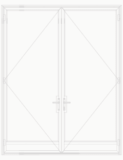 T225 Single Lite Double Doors with Kick Plate